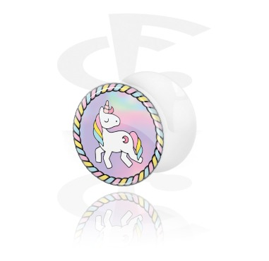 Tunnels & Plugs, Double Flared Plug with Unicorn Design, Acrylic