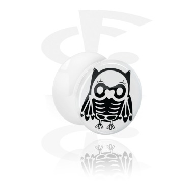 White Double Flared Plug kanssa cute skeleton design