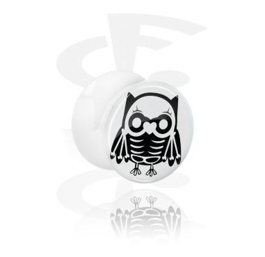 Vit double flared plugg med söt Skelett-Design