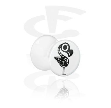 White Double Flared Plug kanssa cute skeleton design