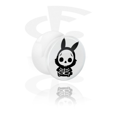 White Double Flared Plug med cute skeleton design