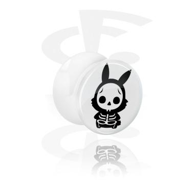 Vit Double Flared Plugg med Cute Skeletons Design