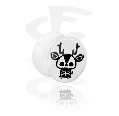 Plug con doble acampanado blanco con diseño de esqueleto