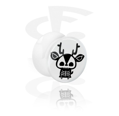 Vit Double Flared Plugg med Cute Skeletons Design