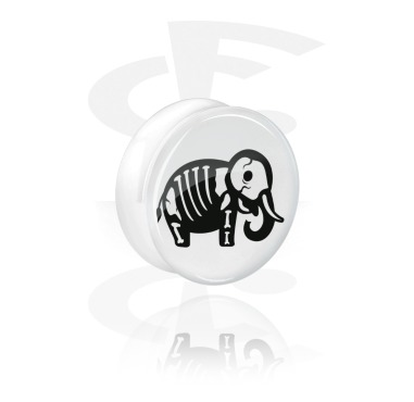White Double Flared Plug with cute skeleton design