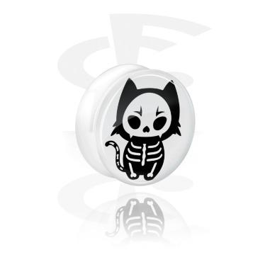 Plug double flared blanc avec motif squelette