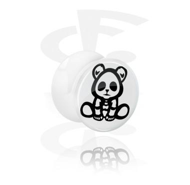 White Double Flared Plug s cute skeleton design