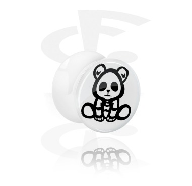 Plug double flared blanc avec Cute Skeletons Design