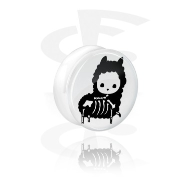 Double Flared Plug bianco con Cute Skeletons Design
