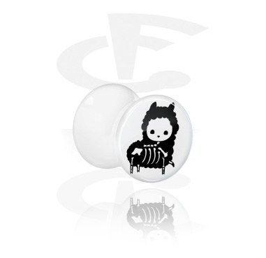 Tunnels & Plugs, White Double Flared Plug with cute skeleton design, Acrylic