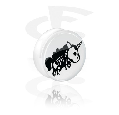 White Double Flared Plug com Cute Skeletons Design