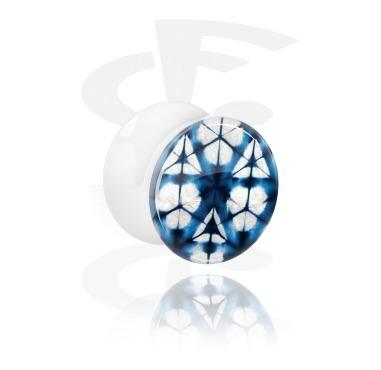White Double Flared Plug with blue batik tie-dye design