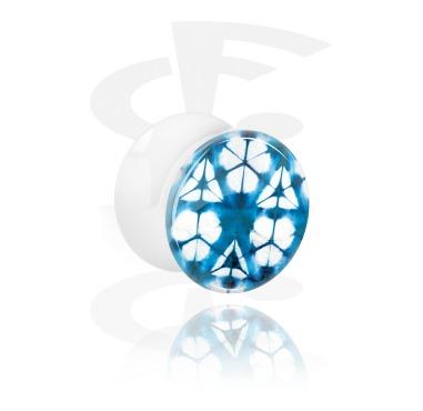 Weißer Double Flared Plug mit blauem Batik-Design