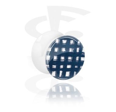 Double Flared Plug bianco con blauem Batik-Design