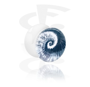 White Double Flared Plug com blauem Batik-Design