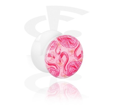 Tunnels & Plugs, Double Flared Plug with Flowers and Summer Design, Acrylic