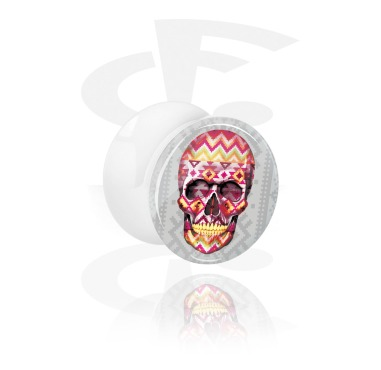 Tunnels & Plugs, White Double Flared Plug with Skull Design, Acrylic