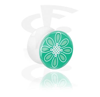 Tunnels & Plugs, Double Flared Plug with green Design, Acrylic