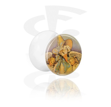Tunnels & Plugs, White Double Flared Plug with Vintage Fairy Design, Acrylic