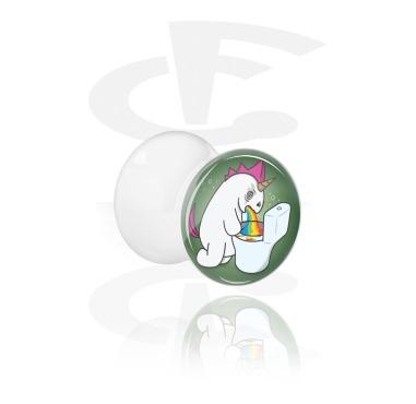 """Tunnels & Plugs, White Double Flared Plug with Evil Unicorn """"Crazycorn"""", Acrylic"""