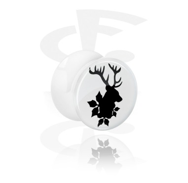 Tunnels & Plugs, White Double Flared Plug with Winter Stag Design, Acrylic
