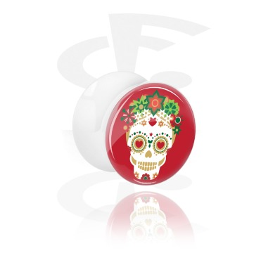 Tunnels & Plugs, White Double Flared Plug with Winter Skull Design, Acrylic