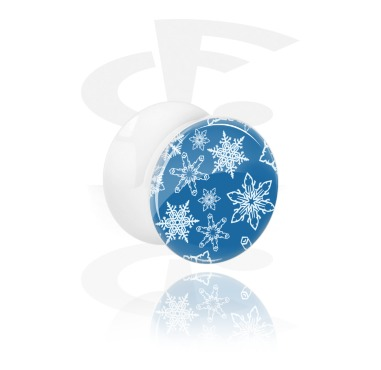 Tunnels & Plugs, White Double Flared Plug with Snowflake Design, Acrylic
