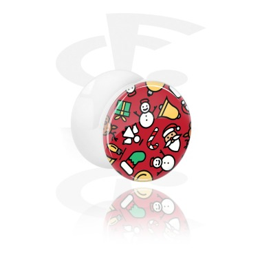 Tunnels & Plugs, White Double Flared Plug with Christmas Design, Acrylic