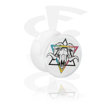 Tunnels & Plugs, White Double Flared Plug with Geometrics on Skulls, Acrylic