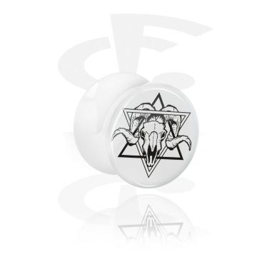 Tunnels & Plugs, White Double Flared Plug with Geometrics on Skulls, Acrylic