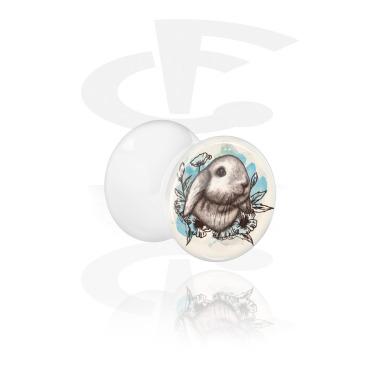 Tunnels & Plugs, White Double Flared Plug with Rabbit Design, Acrylic
