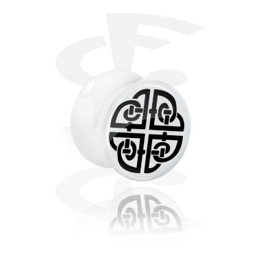 Tunnels & Plugs, White Double Flared Plug with Nordic Runes, Acrylic
