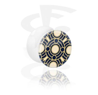 Tunnels & Plugs, White Double Flared Plug with Arabian Ceramics, Acrylic