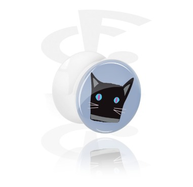 Tunnels & Plugs, White Double Flared Plug with Cat Design, Acrylic