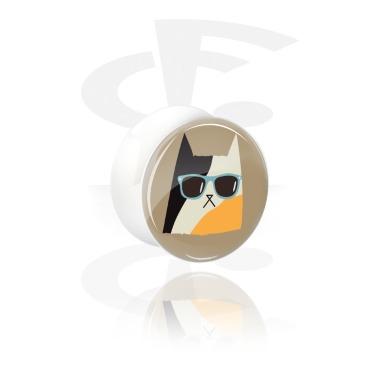 Túneles y plugs, Plug blanco con doble acampanado con Diseño gato, Acrílico