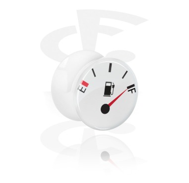 Tunnels & Plugs, White Double Flared Plug with Racing Design, Acrylic