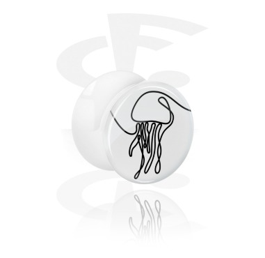 Tunnels & Plugs, White Double Flared Plug with One Line Animal, Acrylic
