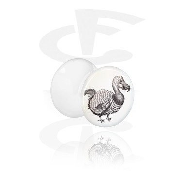 Tunnels & Plugs, White Double Flared Plug with Jongrak Design, Acrylic