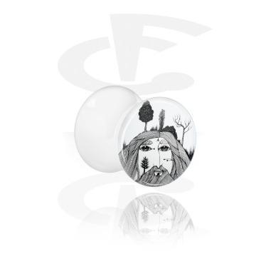Tunnels & Plugs, White Double Flared Plug with Jongrak Design, Acrylic