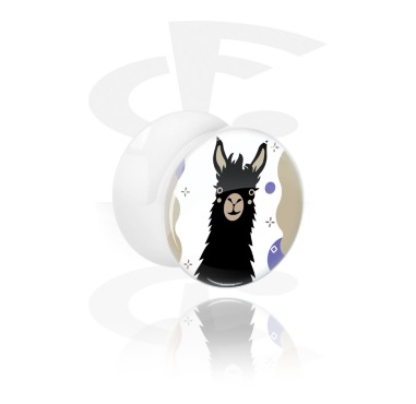Tunnels & Plugs, White Double Flared Plug with Alpaca Design, Acrylic