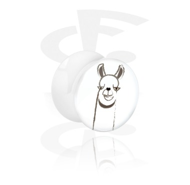 Tunnels & Plugs, White Double Flared Plug with Alpaca Design, Acrylic