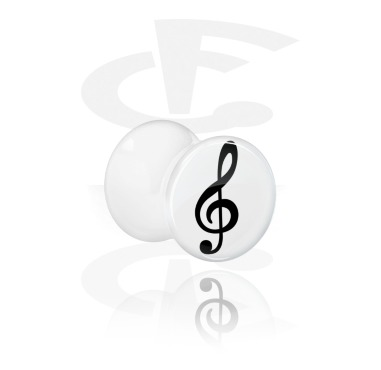 Tunnels & Plugs, White Double Flared Plug with Clef Design, Acrylic