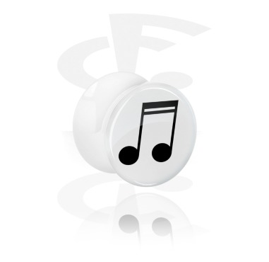 Tunnels & Plugs, White Double Flared Plug with Musical Note Design, Acrylic