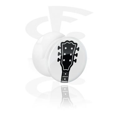 Tunnels & Plugs, White Double Flared Plug with Guitar Design, Acrylic