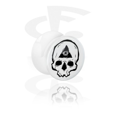 Tunnels & Plugs, White Double Flared Plug with Freaky Skull, Acrylic
