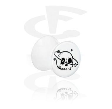 Tunnels & Plugs, White Double Flared Plug with Freaky Skull, Acrylic