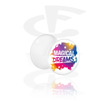 Tunnels & Plugs, White Double Flared Plug with Magical Unicorn Thought, Acrylic