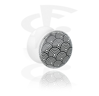 Tunnels & Plugs, Double Flared Plug with Optical Illusion, Acrylic