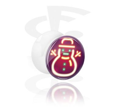 Tunnels & Plugs, Double Flared Plug with Neon Christmas Design, Acrylic