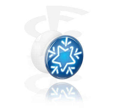 Tunnels & Plugs, White Double Flared Plug with Winter Design, Acrylic